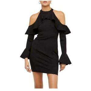 Free People Cold Shoulder Mini Dress Black Ruffle